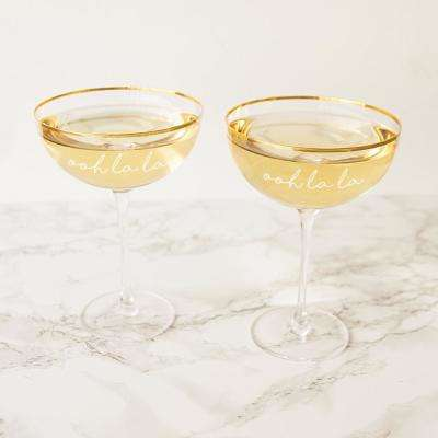 Ooh La La 8 oz. Gold Rim Coupe Flutes (Set of 2)