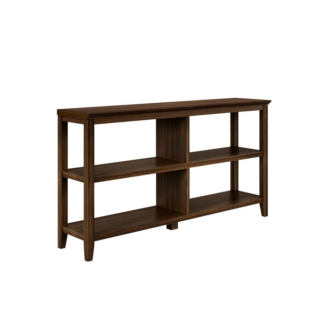 NewRidge 30.25 in. Walnut Wooden 3-Shelf Bookcase with Open Back