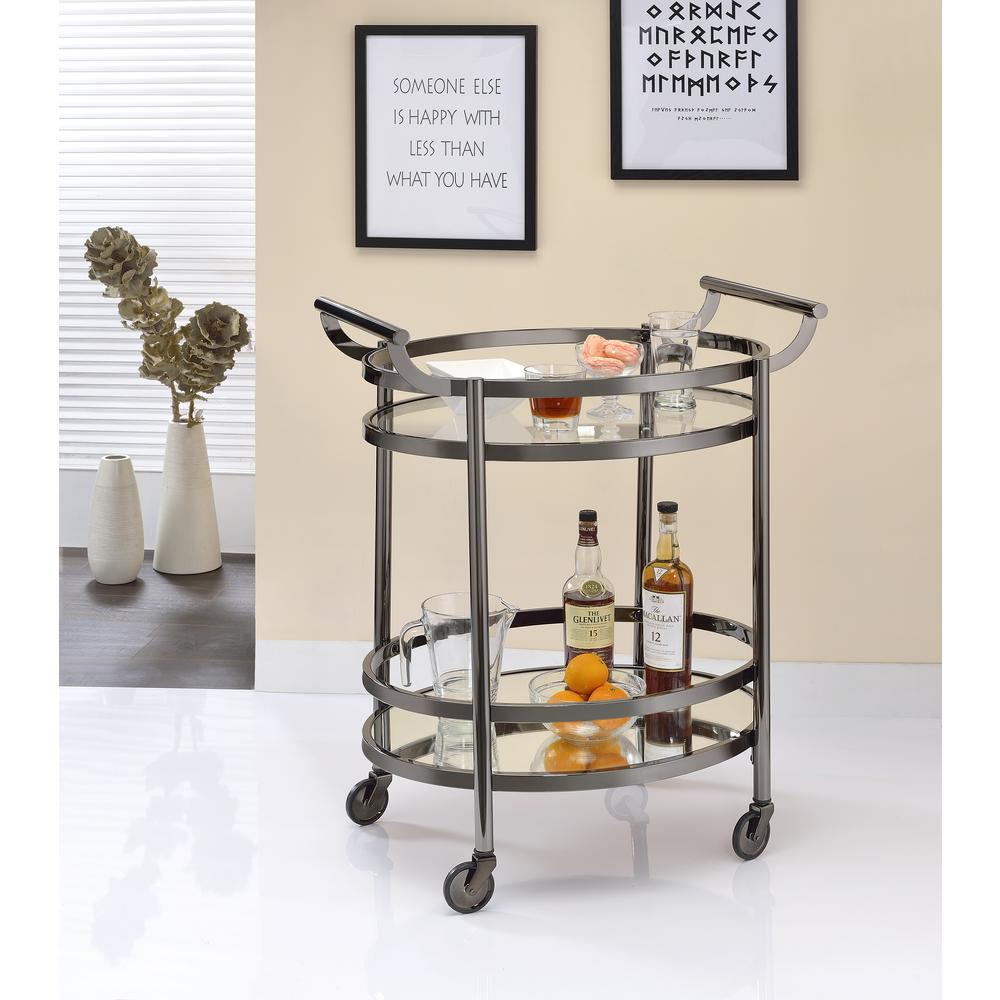 ACME Lakelyn Clear Glass and Black Nickel Serving Cart, C...