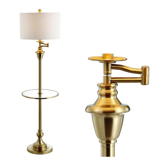 Jonathan Y Cora 60 In Metal Glass Led Side Table And Floor Lamp Brass Jyl3055a The Home Depot