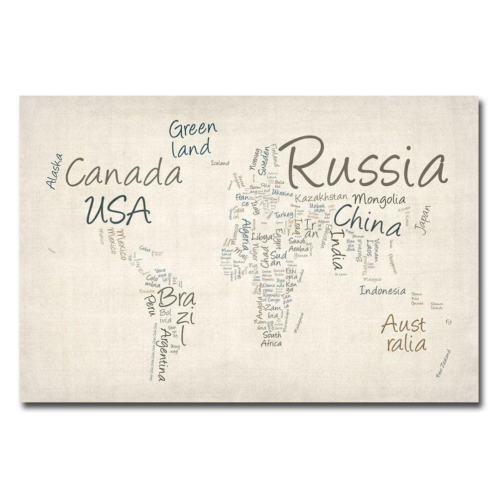 22 In X 32 In Typography World Map Canvas Art Mt0008 C2232gg The
