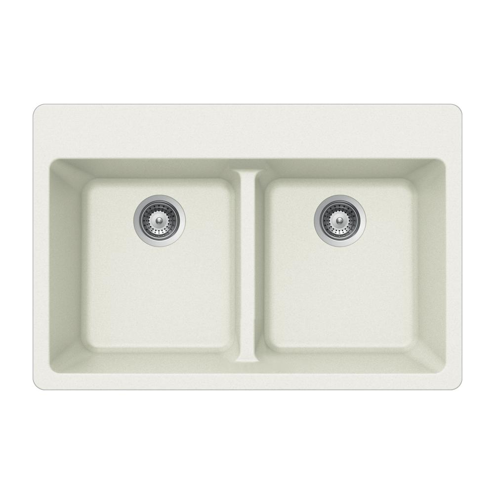 Quartztone Drop-In Granite Composite 33 in. 5-Hole Double Bowl Kitchen Sink