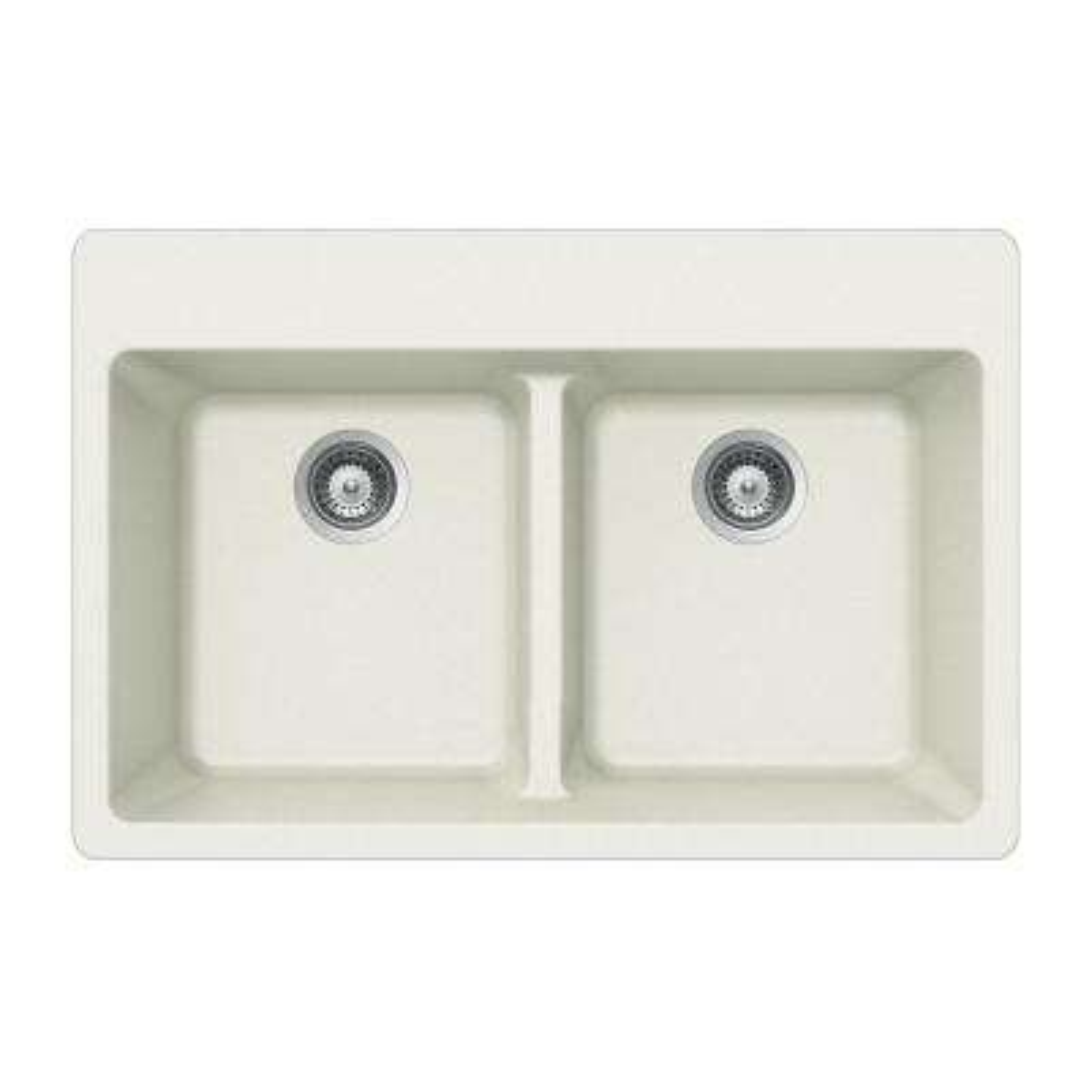 Quartztone Drop-In Granite Composite 33 in. 5-Hole Double Bowl Kitchen Sink in Cloud