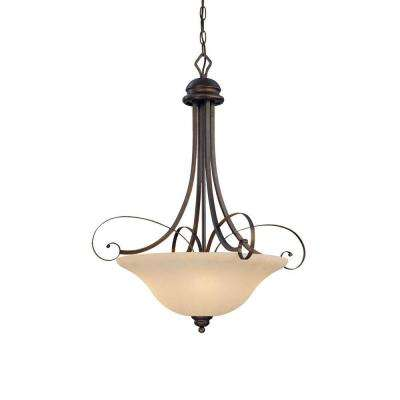 4-Light Rubbed Bronze Pendant with Turinian Scavo Glass