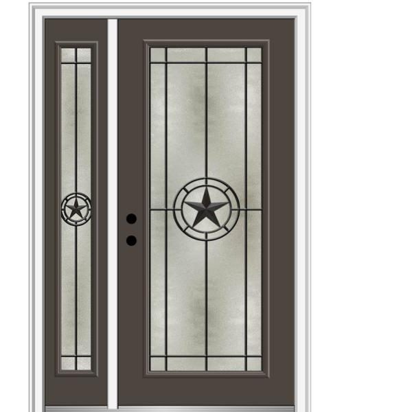 Mmi Door Elegant Star 53 In X 81 75 In Full Lite Decorative Glass Brown Painted Fiberglass Prehung Front Door Z03745715r The Home Depot