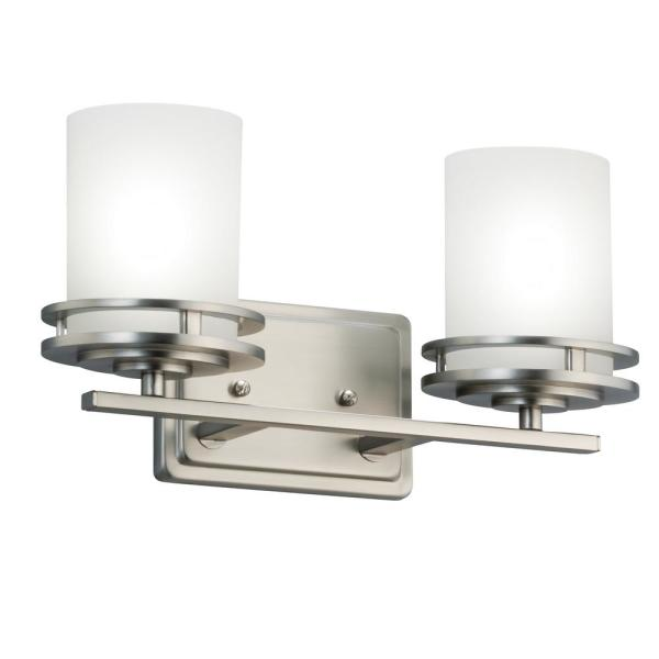 Hendrik 6.5 in. 2-Light Brushed Nickel Vanity Light with Etched Glass Shade