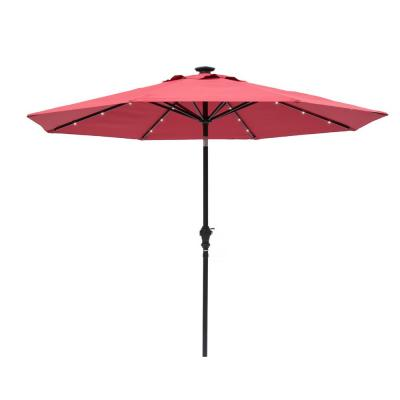 9 ft. Round Solar Lighted Market Umbrella- Scarlet