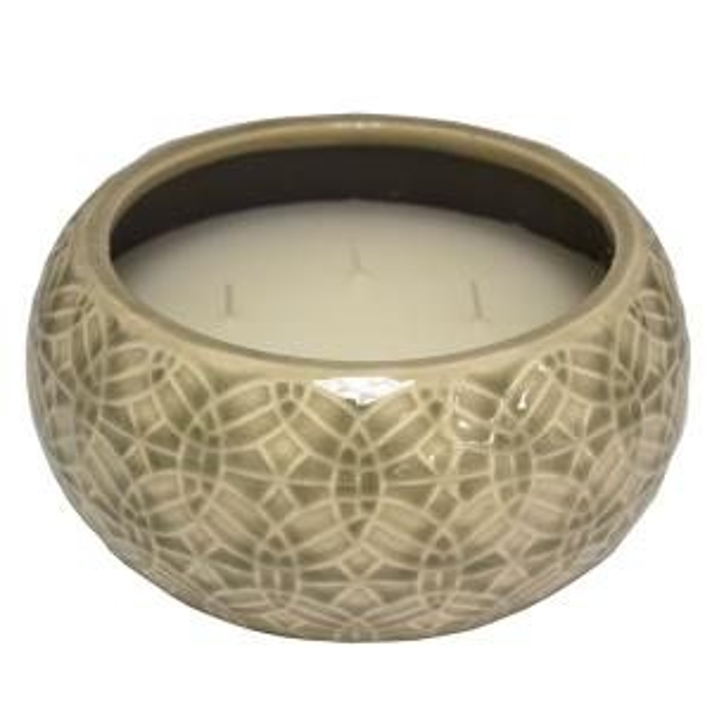8 in. Greige Rivage Multi-Wick Ceramic Citronella Candle