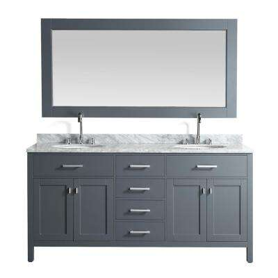 London 72 in. W x 22 in. D Vanity in Gray with Marble Vanity Top in Carrera White with White Basin and Mirror