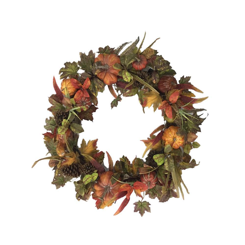 36 in. Pre-Lit Artificial Harvest Pumpkin Wreath
