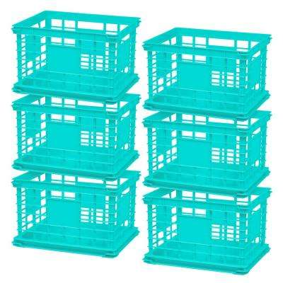 Multi-Purpose Letter and Legal Size File Crate in Teal (6-Pack)
