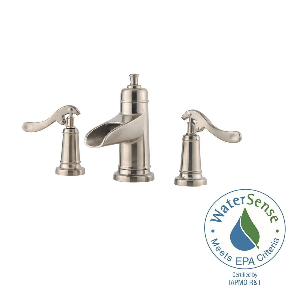Widespread 2 Handle Waterfall Bathroom Faucet In Brushed Nickel