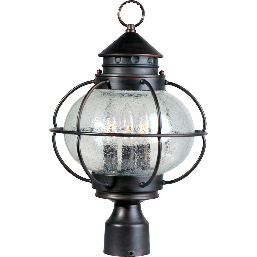 Maxim Lighting Portsmouth 3 Light Oil Rubbed Bronze Outdoor Pole Post Mount