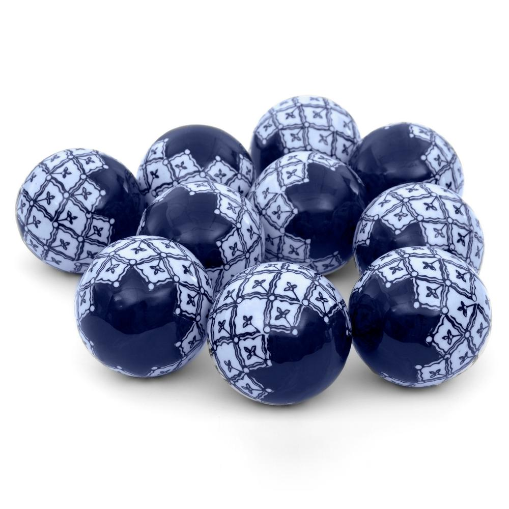 Oriental Furniture 3 In. Blue And White Medallions Porcelain Ball Set