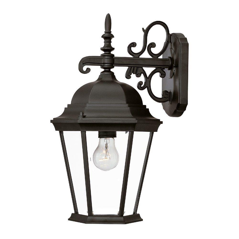 Richmond Collection 1-Light Matte Black Outdoor Wall Lantern Sconce