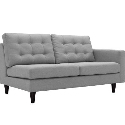 Empress 64.5 in. Light Gray Polyester 2-Seater Right-Facing Loveseat with Removable Cushions