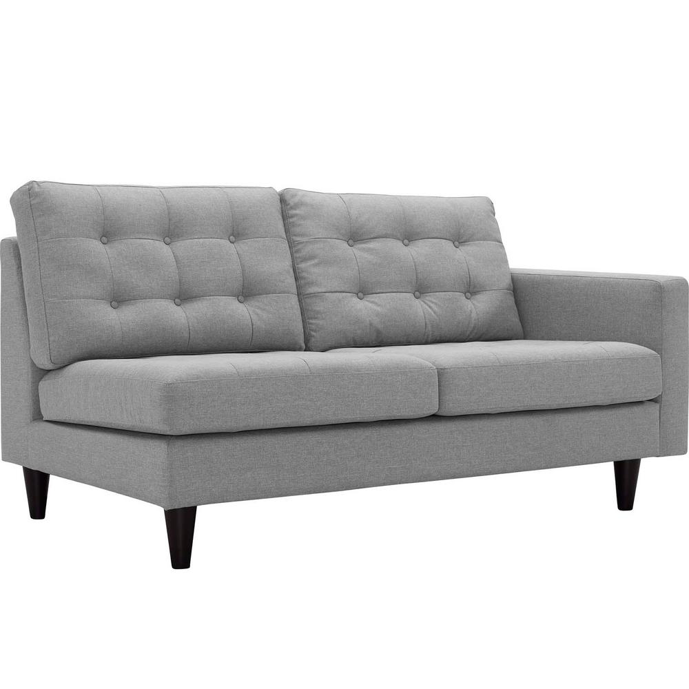Empress Light Gray Right-Fac g Upholstered Fabric Loveseat
