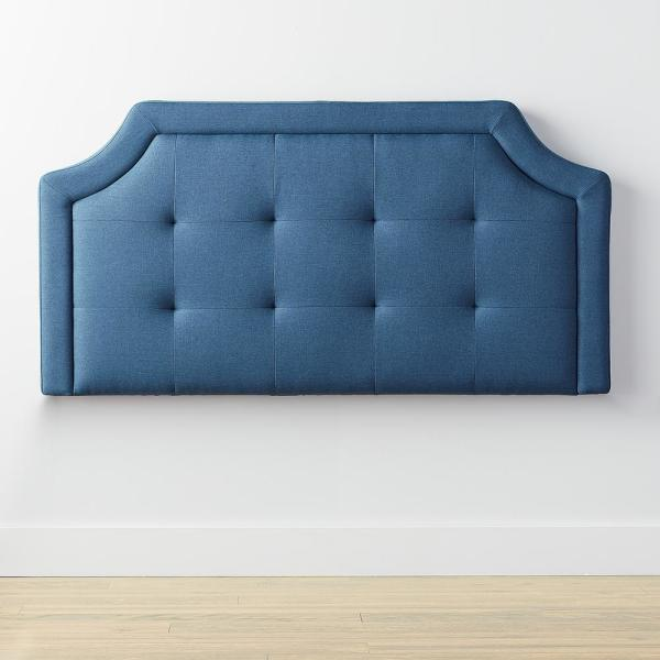 Brookside Upholstered Scoop-Edge Navy King/California King Headboard with Square