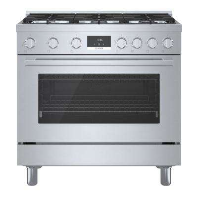 36 in. 3.5 cu. ft. Industrial Style Gas Range with 6-Burners in Stainless Steel