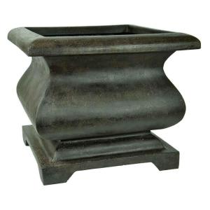 MPG 21 inch Bronze Cast Stone Square Bombe Planter by MPG
