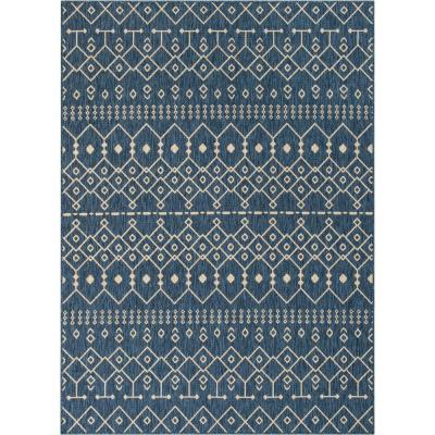 Medusa Nord Blue Moroccan Tribal 7 ft. 10 in. x 9 ft. 10 in. Indoor/Outdoor Area Rug