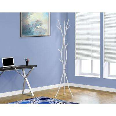 White 8-Hook Coat Rack