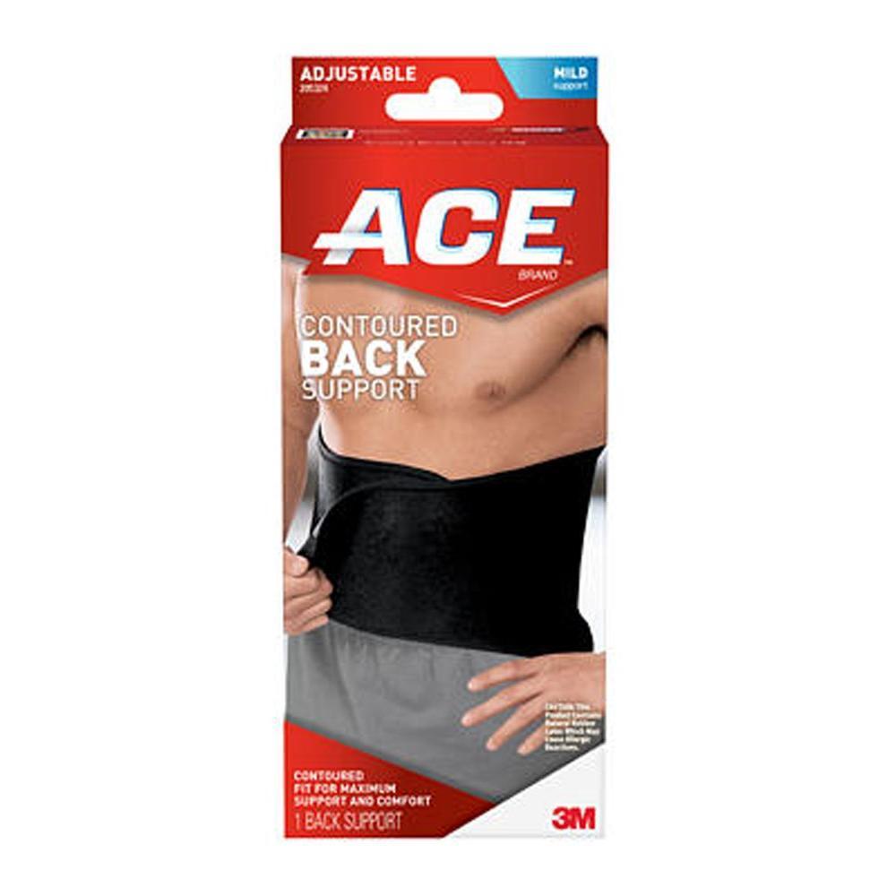 Ace One Size Adjustable Contoured Back Support, Black