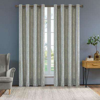 Serena 95 in. L x 54 in. W Semi-Opaque Room Darkening Polyester Curtain in Light Silver