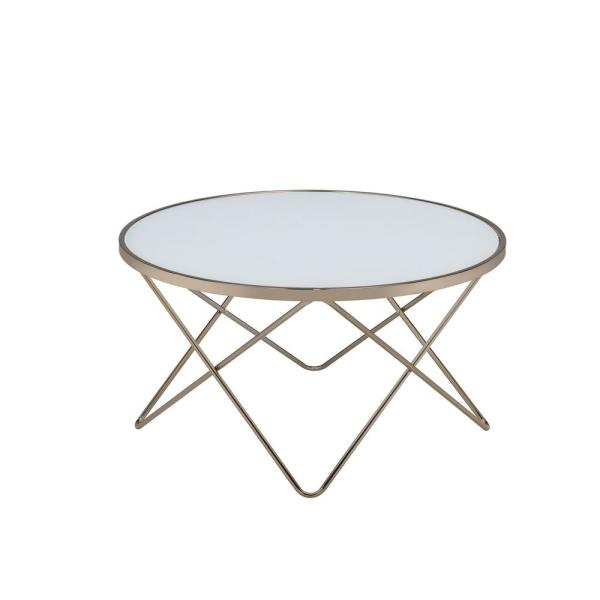Valora 34 in. Gold/Champagne Medium Round Glass Coffee Table