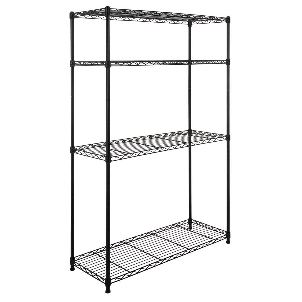 happimess Hadley 53 in. 4-Shelf Wire Rack, Black