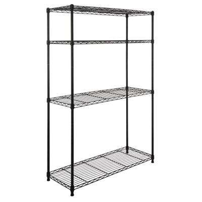 Hadley 53 in. 4-Shelf Wire Rack, Black