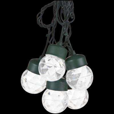 8-Light White Projection Round String Lights with Clips