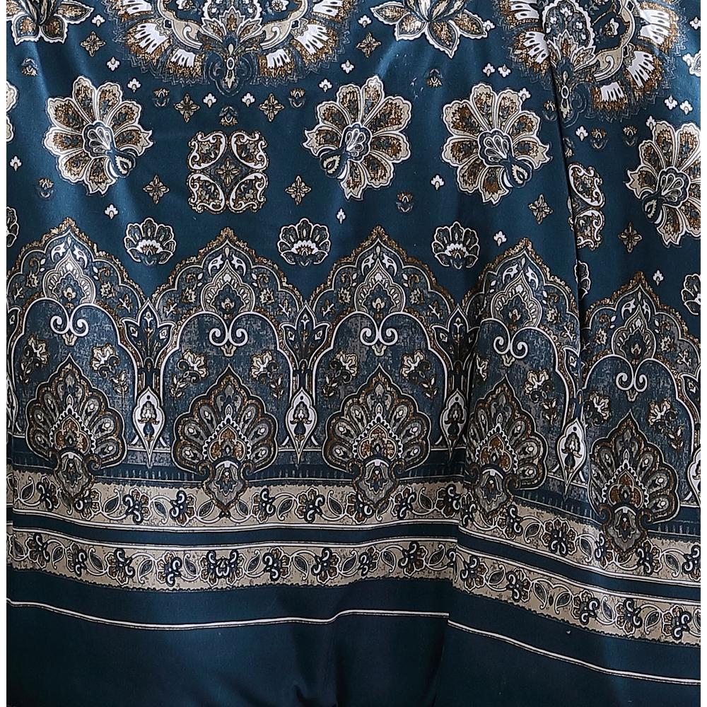 Livia 5-Piece Teal Bohemian Queen Comforter Set