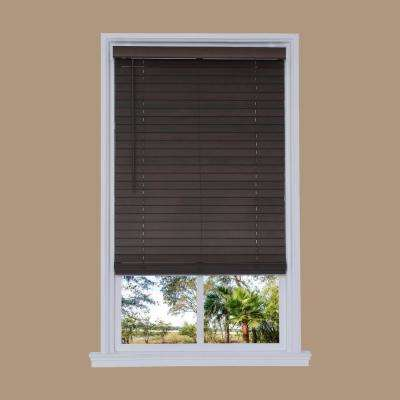 Cut-to-Width Walnut Cordless 2 in. Distressed Faux Wood Blind - 51 in. W x 72 in. L
