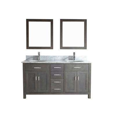 Kalize 63 in. Vanity in French Gray with Marble Vanity Top in Carrara White and Mirror