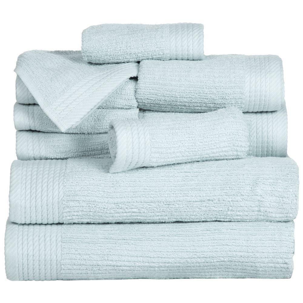 Charisma Bath Towels Seafoam: Lavish Home Ribbed Egyptian Cotton Towel Set In Seafoam