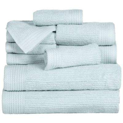 Ribbed Egyptian Cotton Towel Set in Seafoam (10-Piece)
