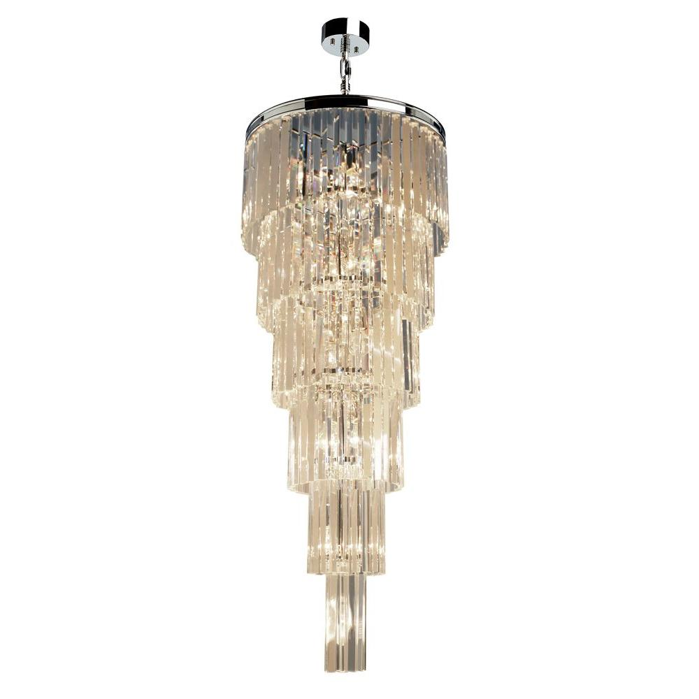 ARTCRAFT El Dorado 17-Light Chrome Pendant Classic and timeless the El Dorado collection of crystal chandeliers is rich inside and out. Available in Java Brown or Chrome plated finishes.