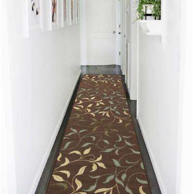 Ottohome Collection Contemporary Leaves Design Chocolate 3 ft. x 10 ft. Runner Rug ...