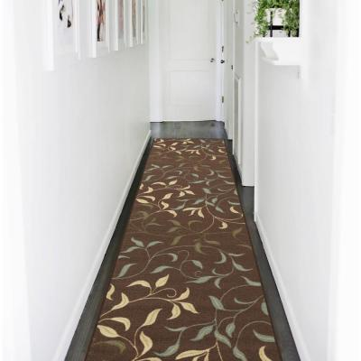 Ottohome Collection Contemporary Leaves Design Chocolate 3 ft. x 10 ft. Runner Rug