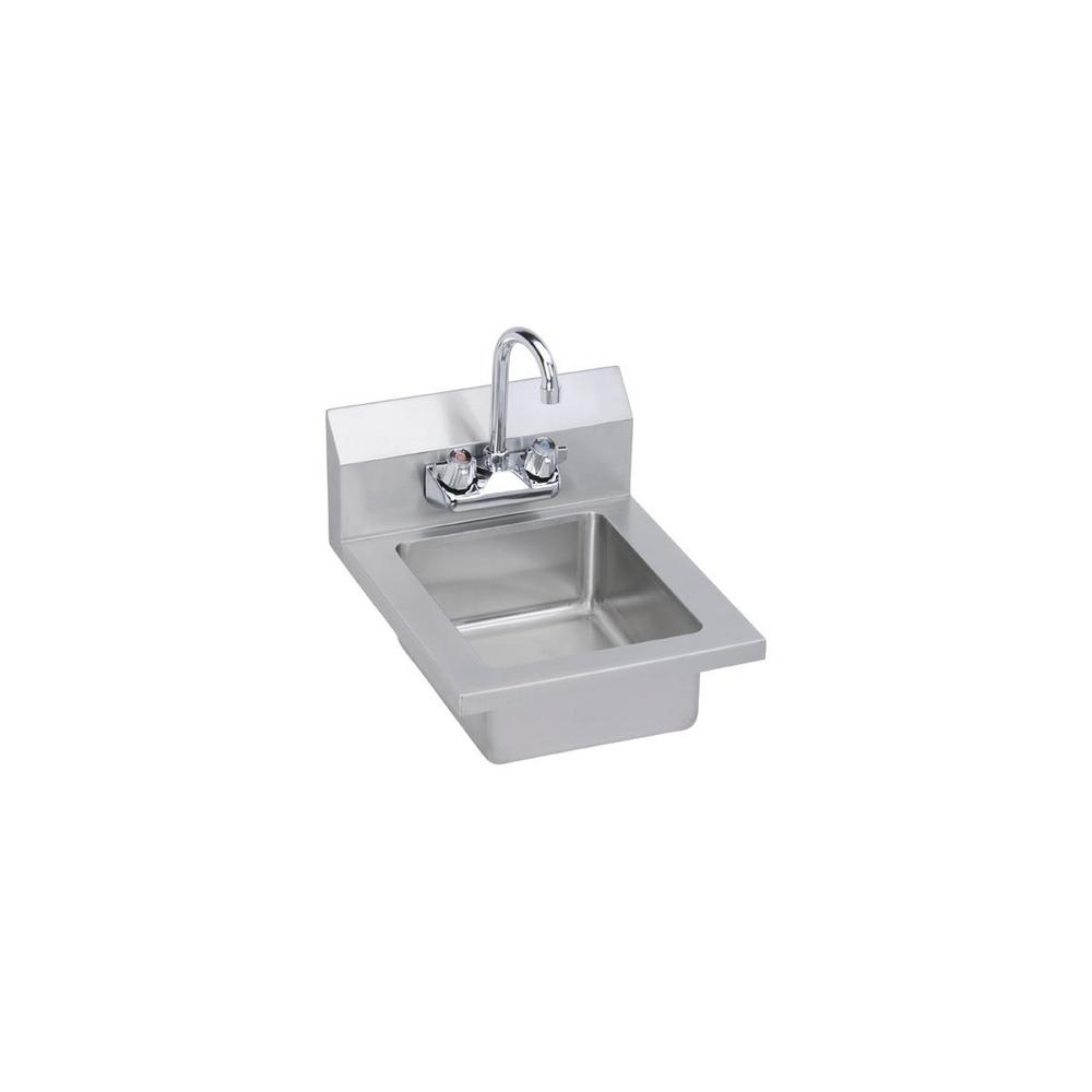 Elkay Stainless Steel 14 In Single Compartment Commercial Kitchen Sink With Faucet Ehs 14x The Home Depot