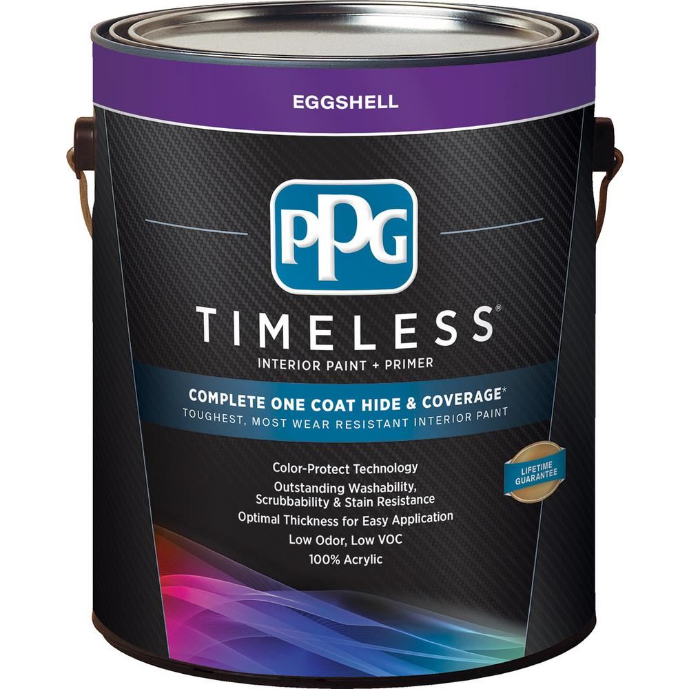 Ppg Timeless 1 Gal Pure White Base Eggshell Interior Paint With Primer