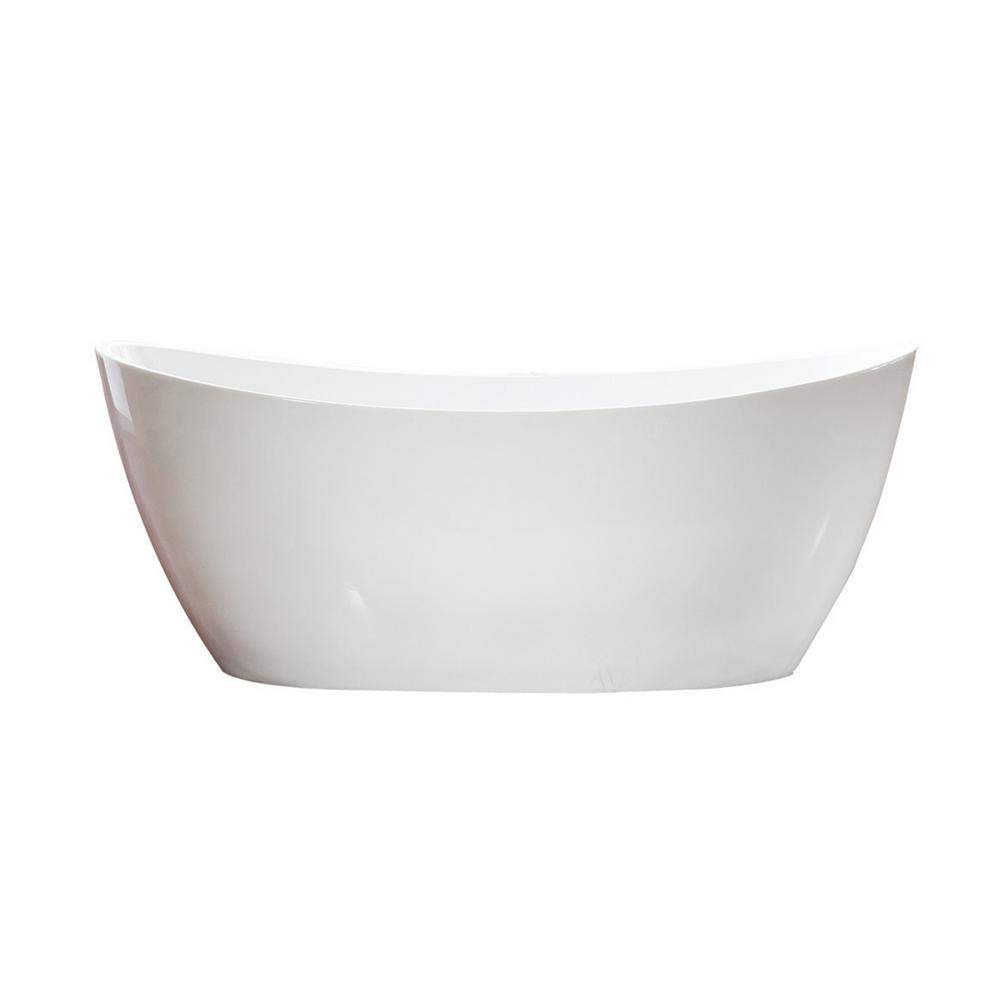 Maya 5.6 ft. Acrylic Double Slipper Flat Bottom Non-Whirlpool Bathtub in