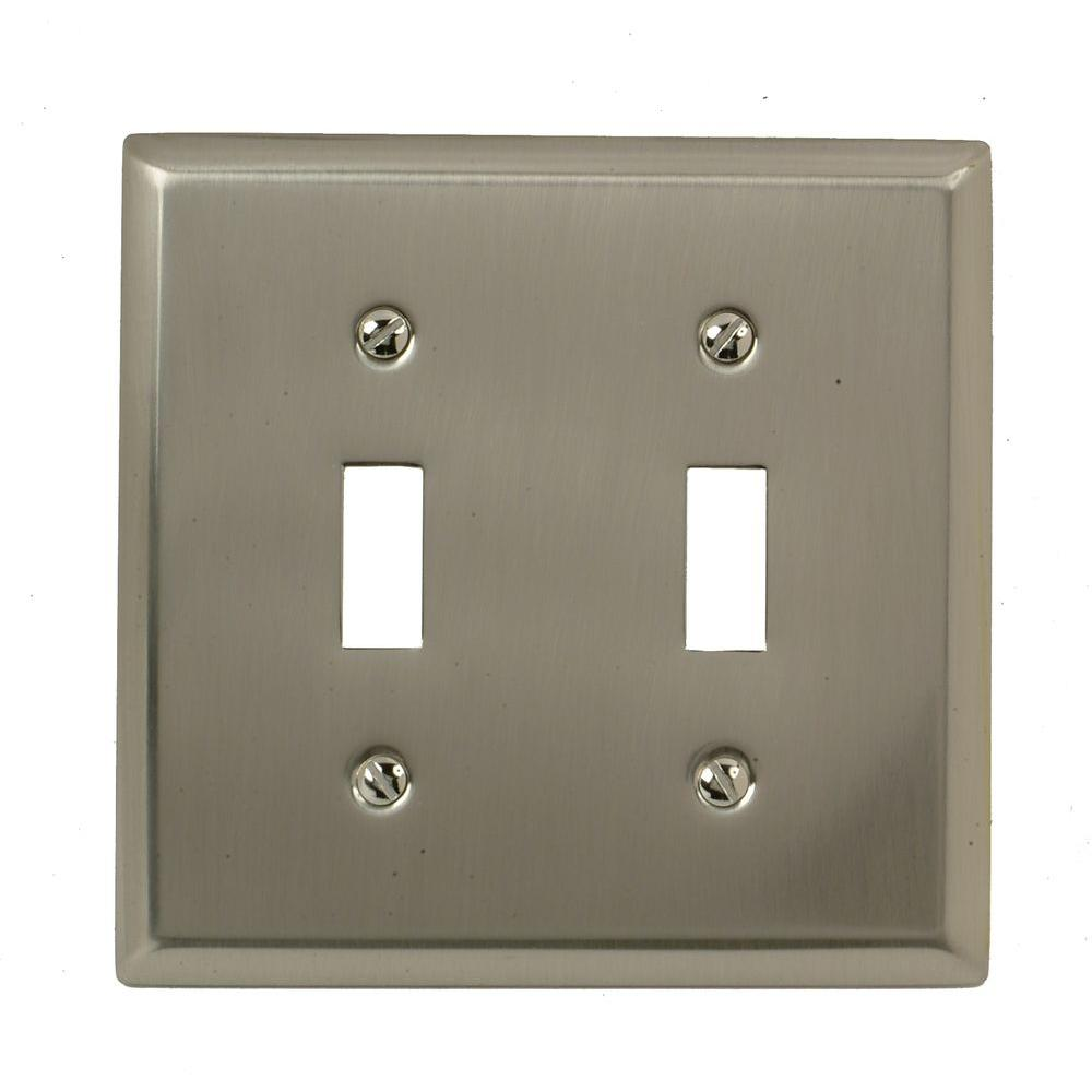 Amerelle Madison 2 Toggle Wall Plate - Satin Nickel