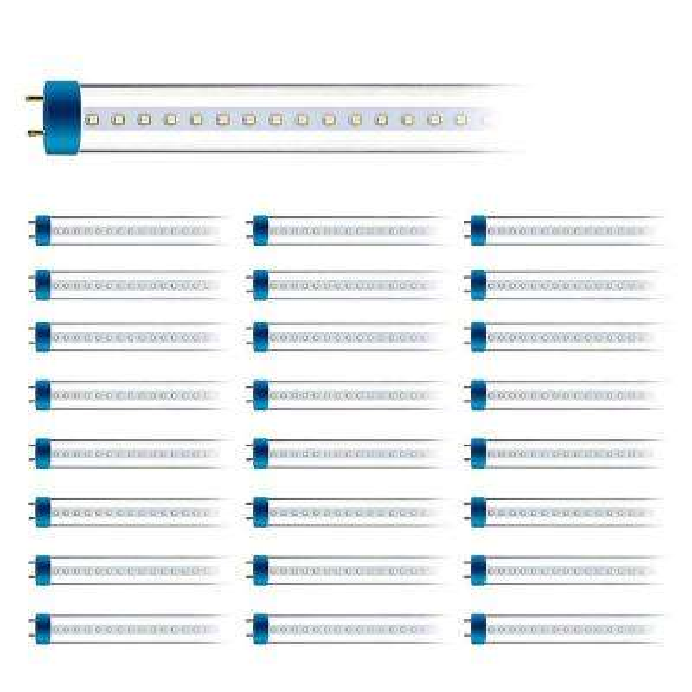 18-Watt 4 ft. Linear T8 Ballast Compatible or Single-End Powered Ballast Bypass Clear LED Tube Light Bulb (24-Pack)