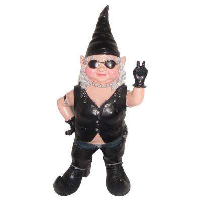 14.5 in. H Peace Sign Biker Babe The Biker Gnome in Full Leather Motorcycle Riding Gear Home and Garden Gnome Statue