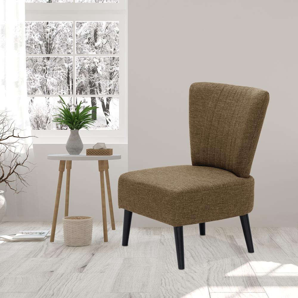 Euro Modern Brown Armless Fabric Accent Chair