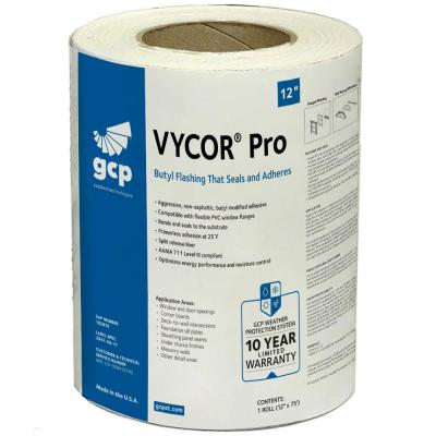 Vycor Pro 12 in. x 75 ft. Roll Fully-Adhered Butyl Flashing Tape (75 sq. ft.)