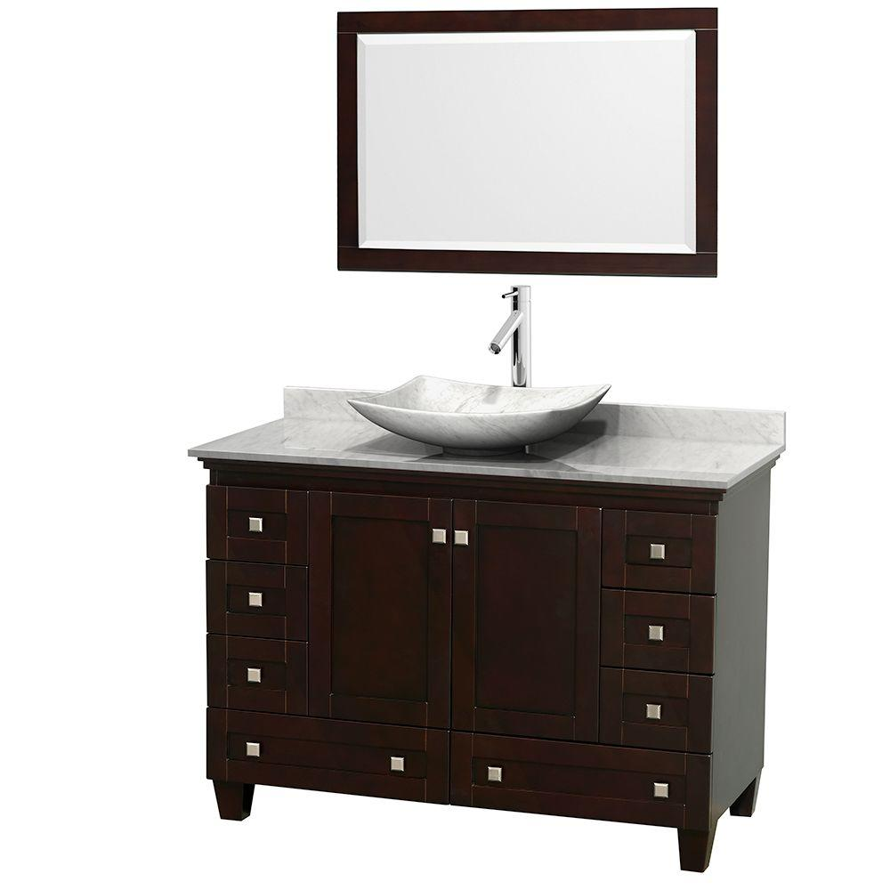 Wyndham Collection Acclaim 48 in. W Vanity in Espresso with Marble Vanity Top in Carrara White, White Carrara Marble Sink and Mirror
