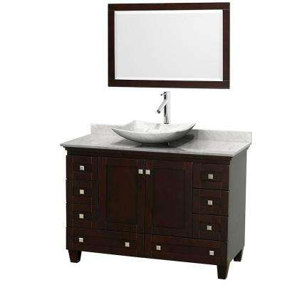 Acclaim 48 in. W Vanity in Espresso with Marble Vanity Top in Carrara White, White Carrara Marble Sink and Mirror